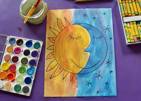 sun and moon watercolor project make and takes