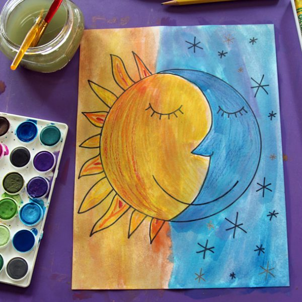 Sun and moon watercolor resist art project