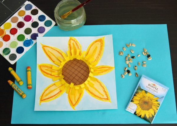 Sunflower mixed media art project for kids