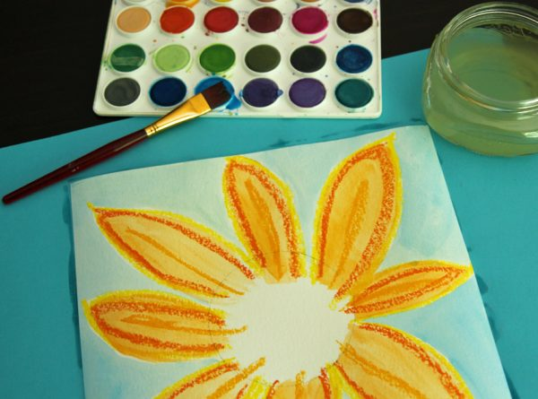 Watercolor resist sunflower art