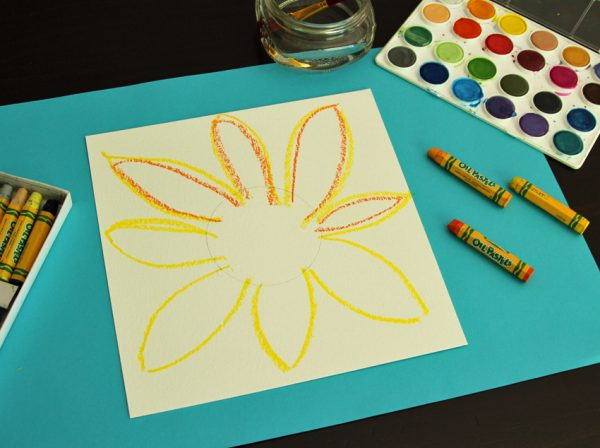 Sunflower drawing with oil pastel
