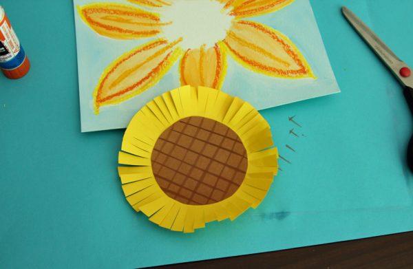 Fringed center for mixed media sunflower