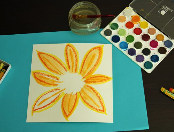 Watercolor resist sunflower art