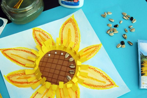 Sunflower art project with real sunflower seeds