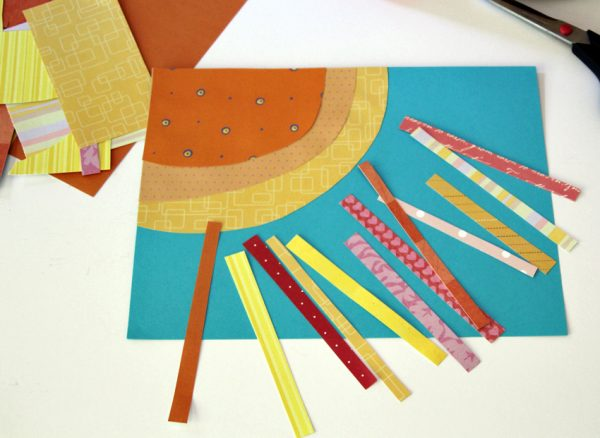 Colorful paper sun collage for kids