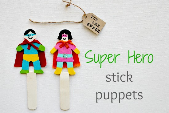 super hero stick puppets
