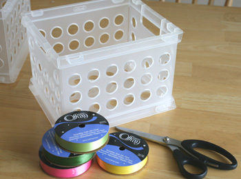 Embellish A Plastic Container With Ribbon Make And Takes