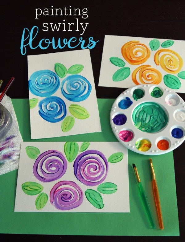 Swirly flowers painting project for kids