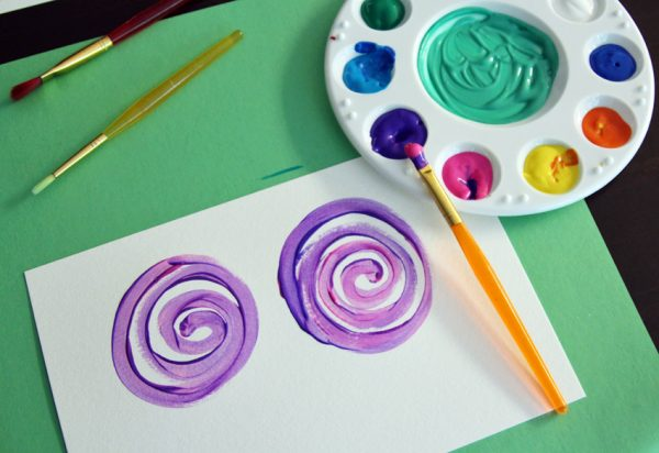 Simple flower painting for kids