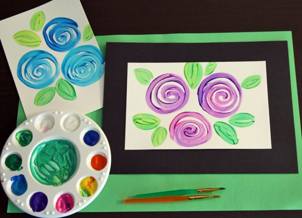Swirly flowers painted card or gift