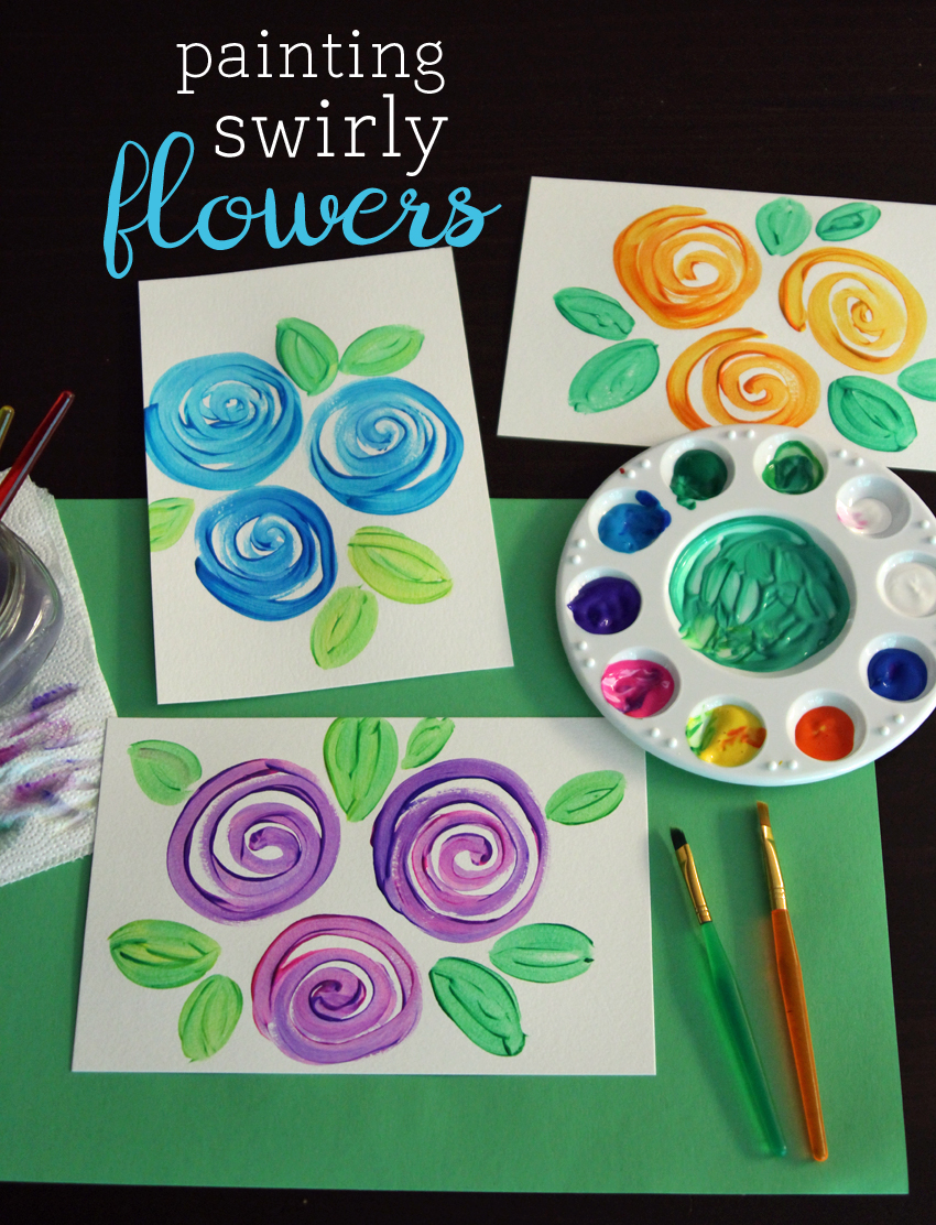Painting swirly flowers make and takes for Childrens canvas ideas