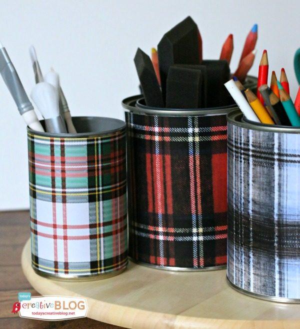 DIY Tartan Plaid Desk Accessories