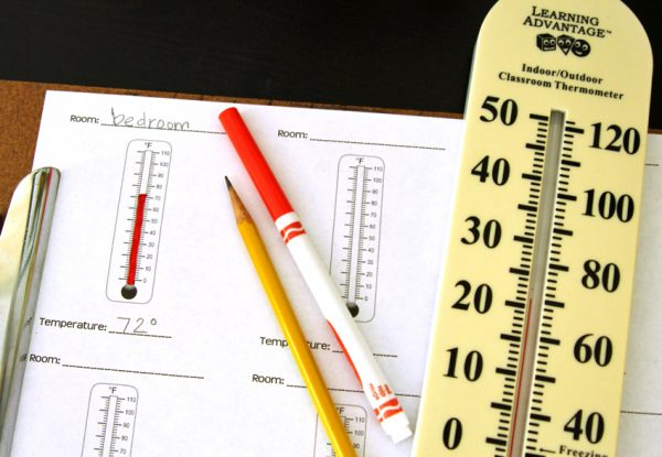 Temperatures Around the House - math and science activity