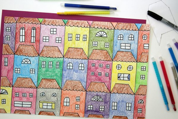 Tessellations Houses to Draw and Color