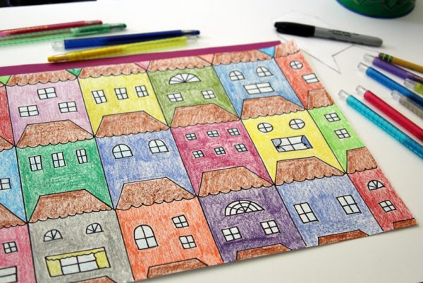 Tessellating houses art project for kids