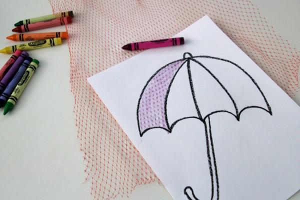 Umbrella drawing with crayon rubbing textures