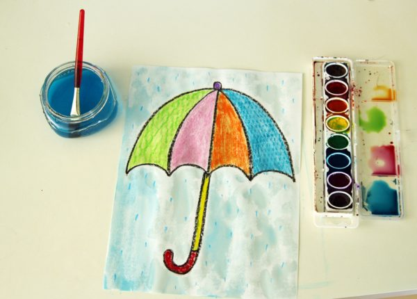Umbrella texture rubbing and painting