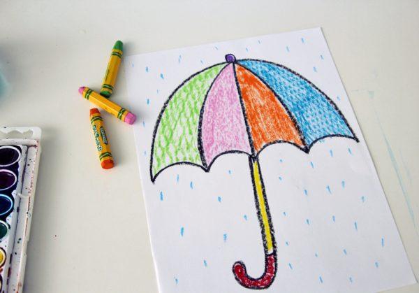 Oil pastel texture rubbing umbrellas