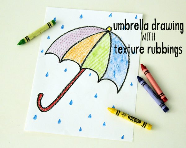Umbrella drawing with texture rubbings