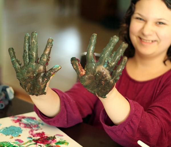 Textured finger paints for kids