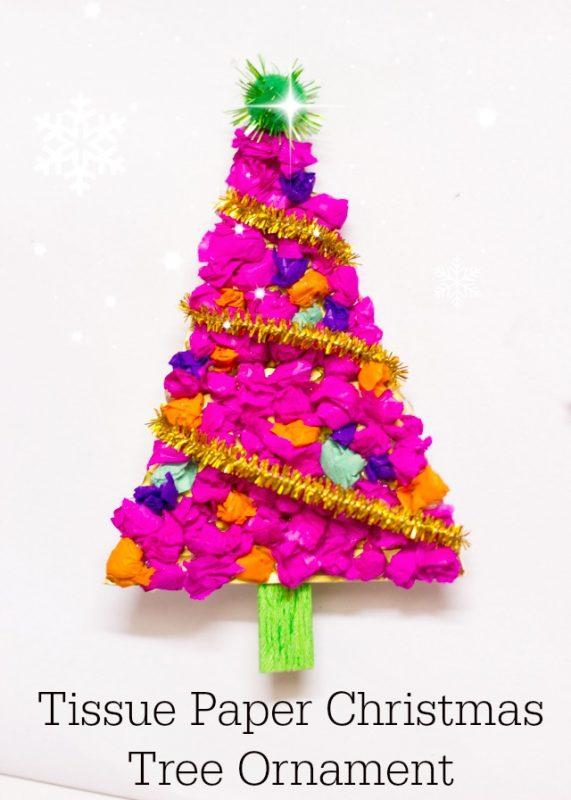 Tissue Paper Tree Ornament