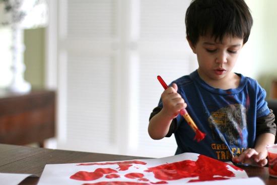 toddler boy painting