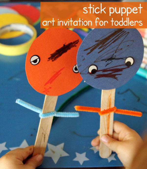 Toddler stick puppet art invitation