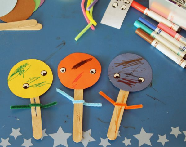 Create stick puppets with toddlers