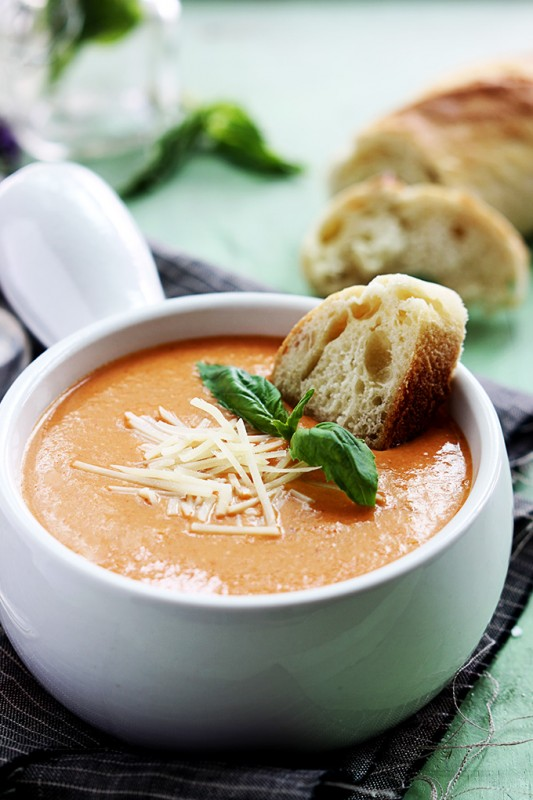 tomato basil and cheesy parmesan soup