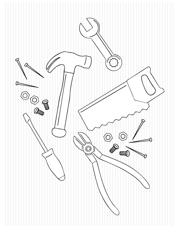 Coloring pages make and takes for Tools coloring page
