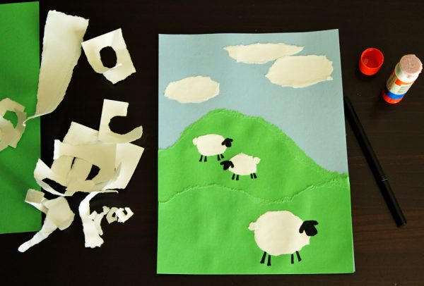 Torn paper sheep craft project