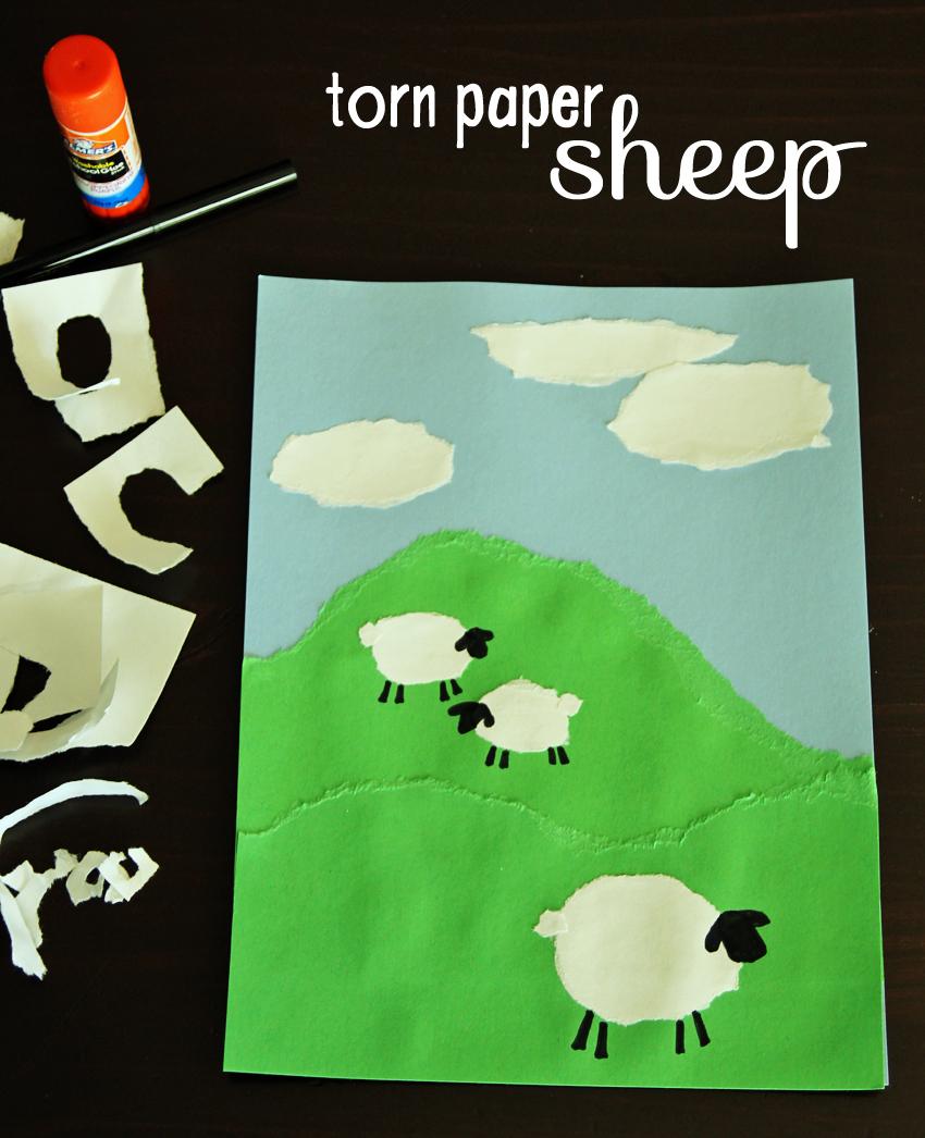 torn paper sheep art project
