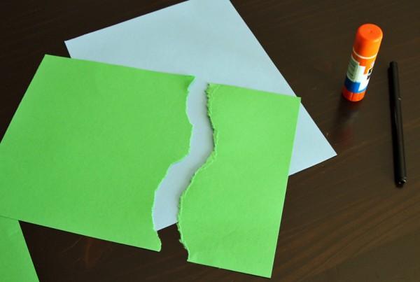Paper tearing green hills