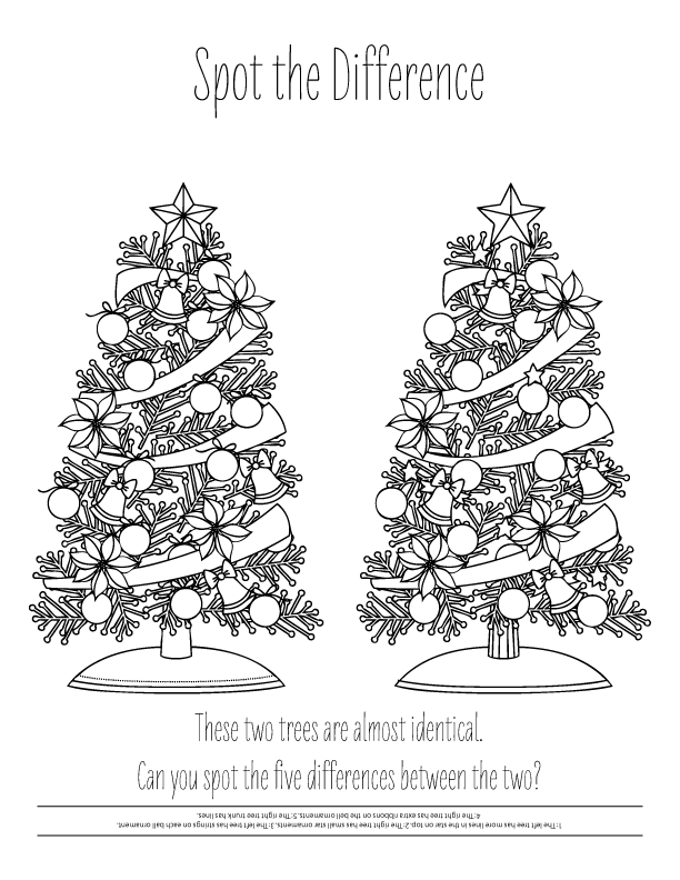 christmas tree match coloring page - Holiday Coloring Sheets