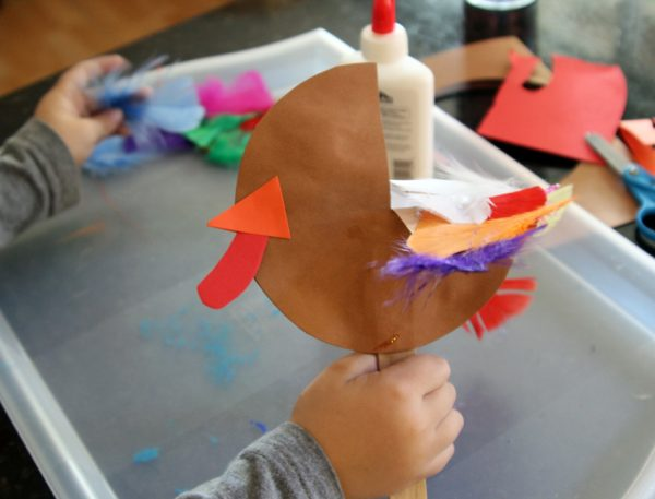 Simple and colorful turkey puppet