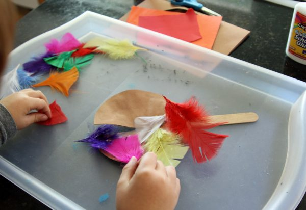 Colorful feathers for a turkey puppet