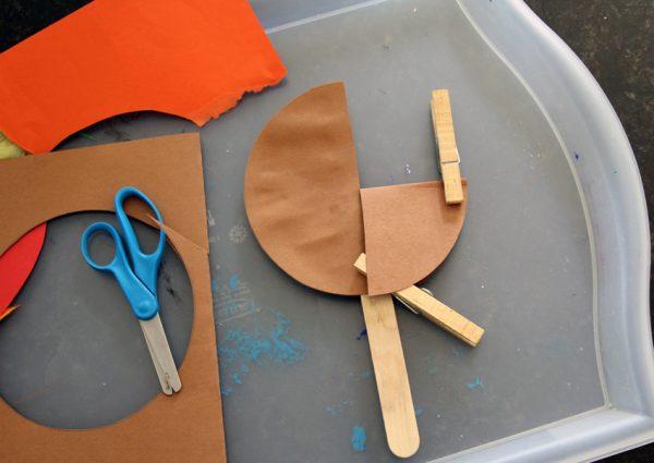 Making turkey stick puppets