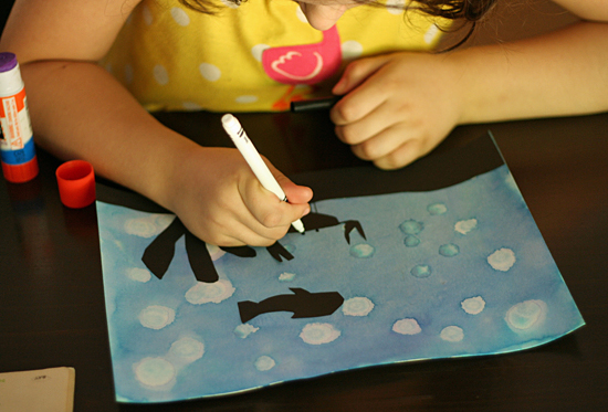 Underwater silhouette art with paper and marker