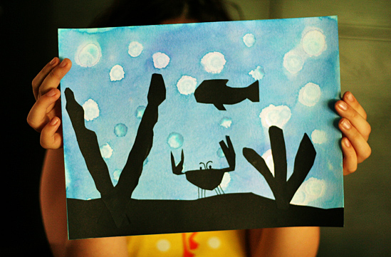 Underwater silhouette art project for kids