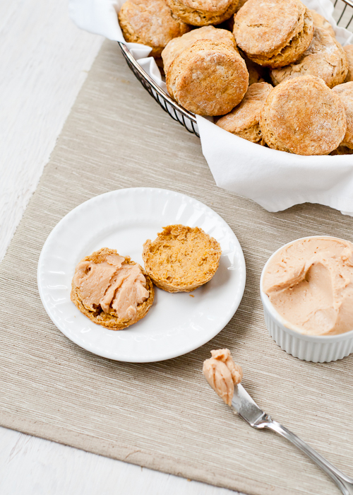 Flaky Pumpkin Biscuits with Maple Cinnamon Butter