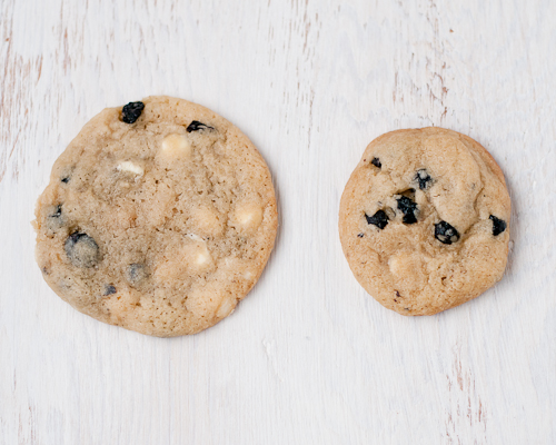 Blueberries and cream cookie sizes