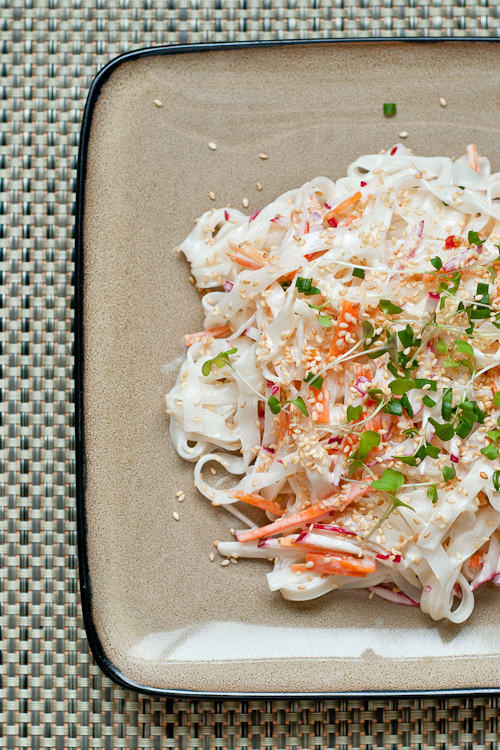 Cold Rice Noodle Salad with Creamy Tahini Dressing