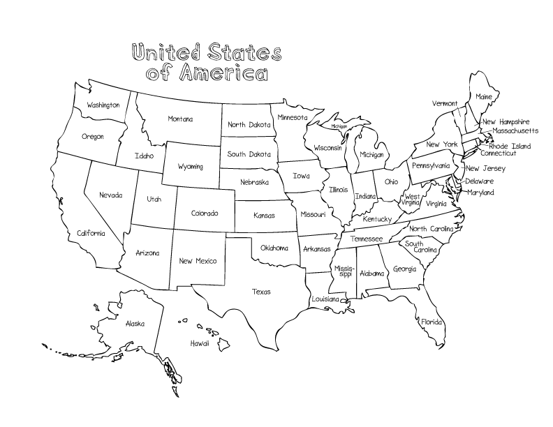 Map of USA Coloring Page