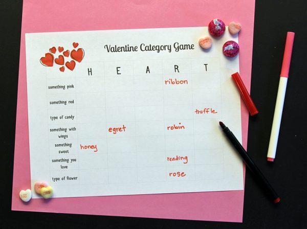 Valentine category game printable
