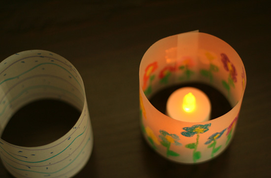 Tracing paper votive covers