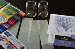Supplies for tracing paper votive covers