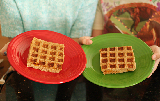 Waffle iron grilled cheese sandwich for kids