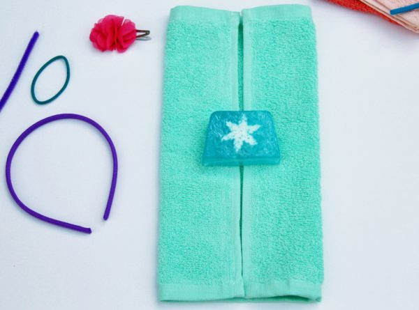 Washcloth purse with soap inside