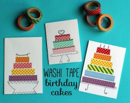 Washi Tape Birthday Cake Cards