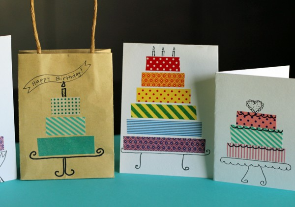 Washi tape cakes for cards and gift bags